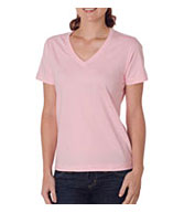 Custom Organic Ladies� Ring-Spun Organic Cotton Short-Sleeve V-Neck Tee