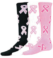 Custom Intermediate Pink Ribbon Game Socks