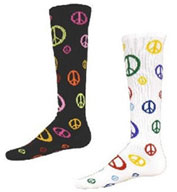 Custom Youth Give Peace A Chance Multi Sport, Multi Color Peace Socks