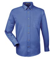 Custom Harriton Mens Long-Sleeve Twill Shirt with Stain-Release
