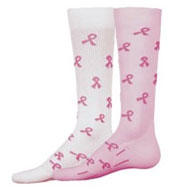 Custom I Care Compression Socks with Pink Awareness Ribbons