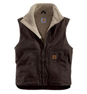 Custom Carhartt Sandstone Mock-Neck Vest with Sherpa Lining