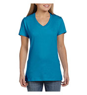 Custom Hanes Ladies 4.5 oz 100% Ringspun Cotton Nano-T® V-Neck T-Shirt