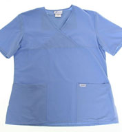 Custom Ladies� Mock Wrap Medical Scrub Top by Spectrum Uniforms