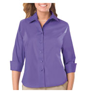 Custom Ladies 3/4 Sleeve Easy Care Stretch Poplin Blouse