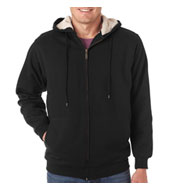 Custom Heavyweight Adult Sherpa-Lined Full Zip Fleece with Hood