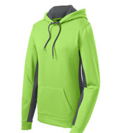 Custom Ladies Fleece Color Block Hooded Pullover
