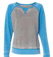Custom J. America Ladies Zen Fleece Raglan Sleeve Crewneck Sweatshirt