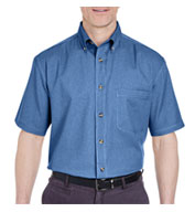 Custom Short Sleeve Denim Shirt Mens
